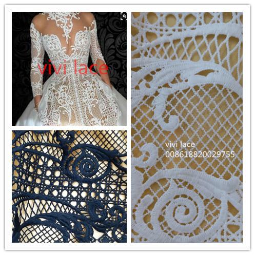 f4ab63dbf610 5 mètres ne001   écru floral de luxe guipure coton haute couture dentelle  tissu pour robe sciage partie weddingdress occasion dans Tissu de Maison    Jardin ...