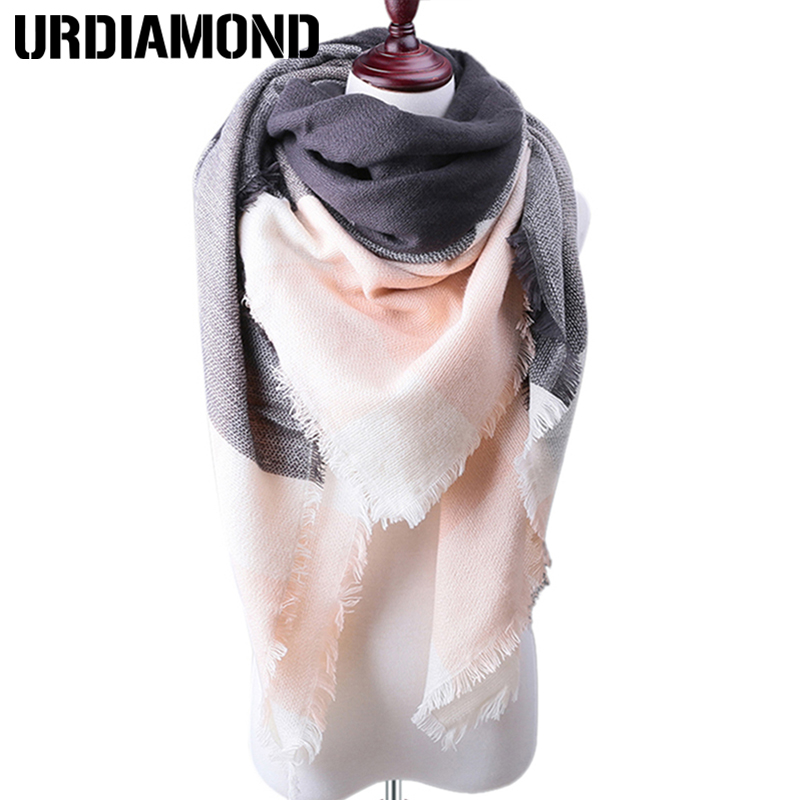 URDIAMOND Winter Women Plaid Cashmere Scarves Warm Shawls