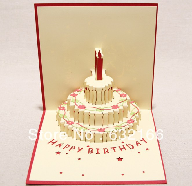 Free shipping wholesale 3d colorful happy birthday cake greeting free shipping wholesale 3d colorful happy birthday cake greeting card 2pcsbagbest wish to your friend valentine gift in party favors from home garden on m4hsunfo