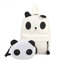 School Backpacks Style 2017 Sweet Backpack Hit the color panda Quality Canvas Teenage Girl High capacity Travel Books Rucksack