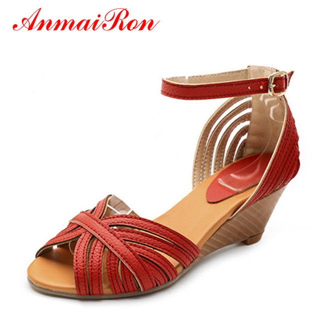 8a38cd1c85b ANMAIRON Women Ankle-Wrap Open Toe Sandals Wedges Casual High Heels Buckle  Cover Heel Strappy Sandals Orange White Girl Shoes