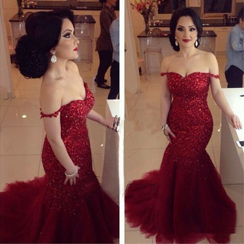 Sexy Red Sequined Mermaid Evening Dress 2016 Vestido De Festa Longo Elegant Shoulder Tulle Formal Prom Gowns - FLD Wedding Dresses store