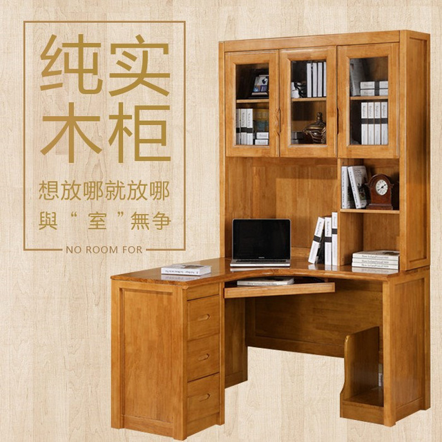 Vaak Tafel Eiken houten kast hoek computer bureau combinatie desktop &OX38