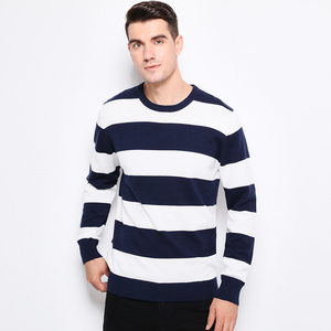 Image 3 - Autumn Winter Fashion Brand Clothing Men Knitted Sweater Thick Stripes Slim Fit Pullover Men 100% Cotton O Neck Sweaters For Men