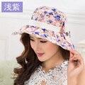 De las mujeres del algodón de la flor de sun beach sombreros sombreros para las mujeres de moda de verano sol marca el sombrero de ala ancha sombreros para el sol para las mujeres con grandes cabezas