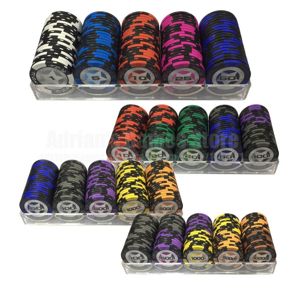 100PCS Clássico Trigo 14g Conjunto de Fichas de Poker Com Caixa de Estilo Casino Fornecimento Profissional de Token Pocker Chips Hilariante Família jogos