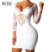 WUHE Women Autumn Dress Sexy V Neck Hollow Out White Floral Lace Bodycon Dress Fashion See Through Long Sleeve Party Dresses quelle buffalo 858145