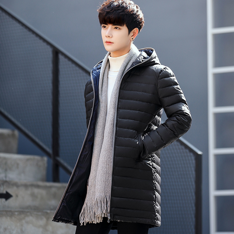 Winter Thick White Duck Down Jacket Men Long Knee Length Youth Thick Coat New Solid Color Hooded Tide Outerwear Parkas