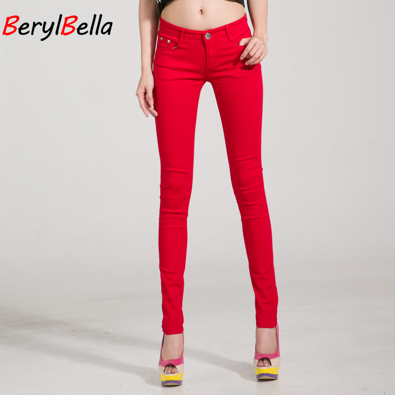 Women Pants Candy Jeans 2017 Spring Fall Pencil Pants Slim Casual Female Stretch Trousers White Jean pantalones mujer BerylBella