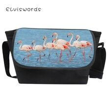 ELVISWORDS Fashion Women Messenger Bags Pretty Flamingo Patterns Crossbody Casual for Teenage Student Large Mochila Fiminina