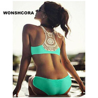2017 Sexy Women Bikini Set Fashion Hook Flower Triangle Women S Swimming Trunks Green Black Swimwear
