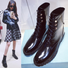 New European leather with short Flat Boots female Martin boots lace boots boots a single locomotive in the spring and autumn Kni