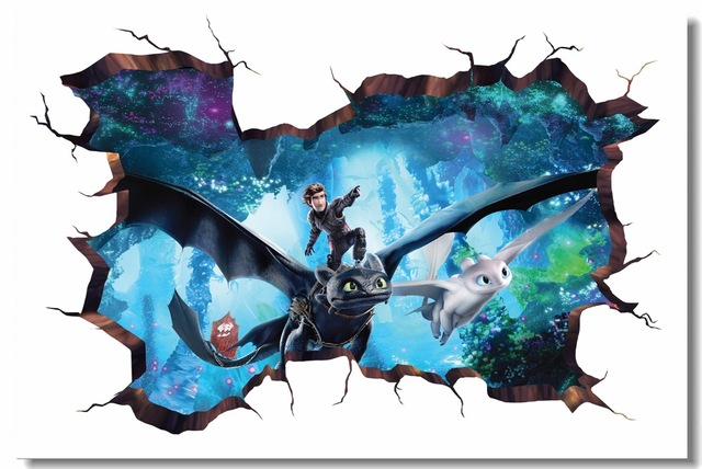 Custom Printing Wall Mural How To Train Your Dragon 3 Poster Httyd 3d Wall Sticker Toothless