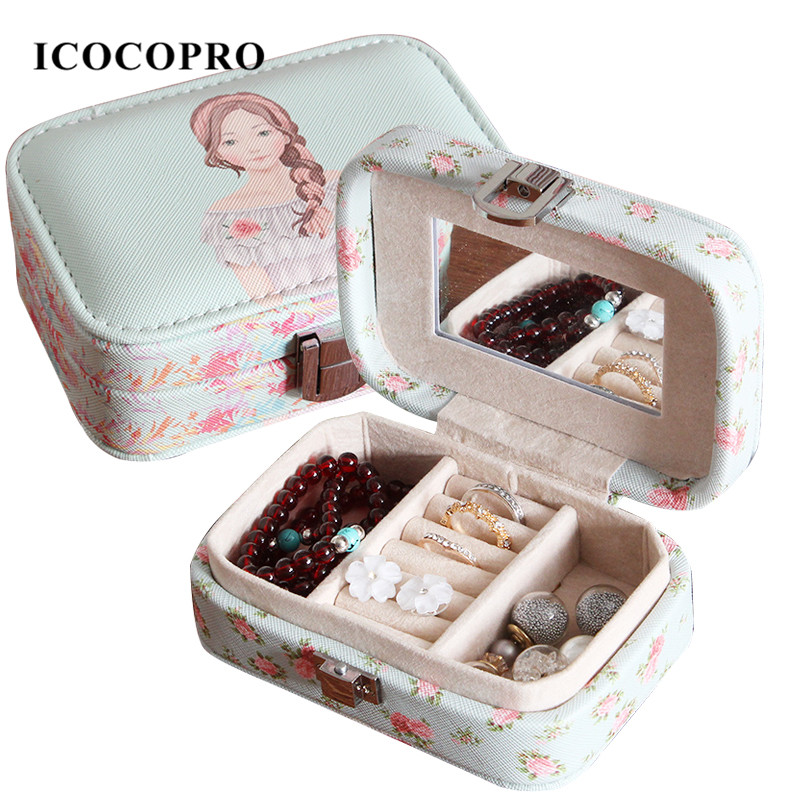 ICOCOPRO Cute Girl Jewelry Box For Women Stand Ring Holder Jewelry