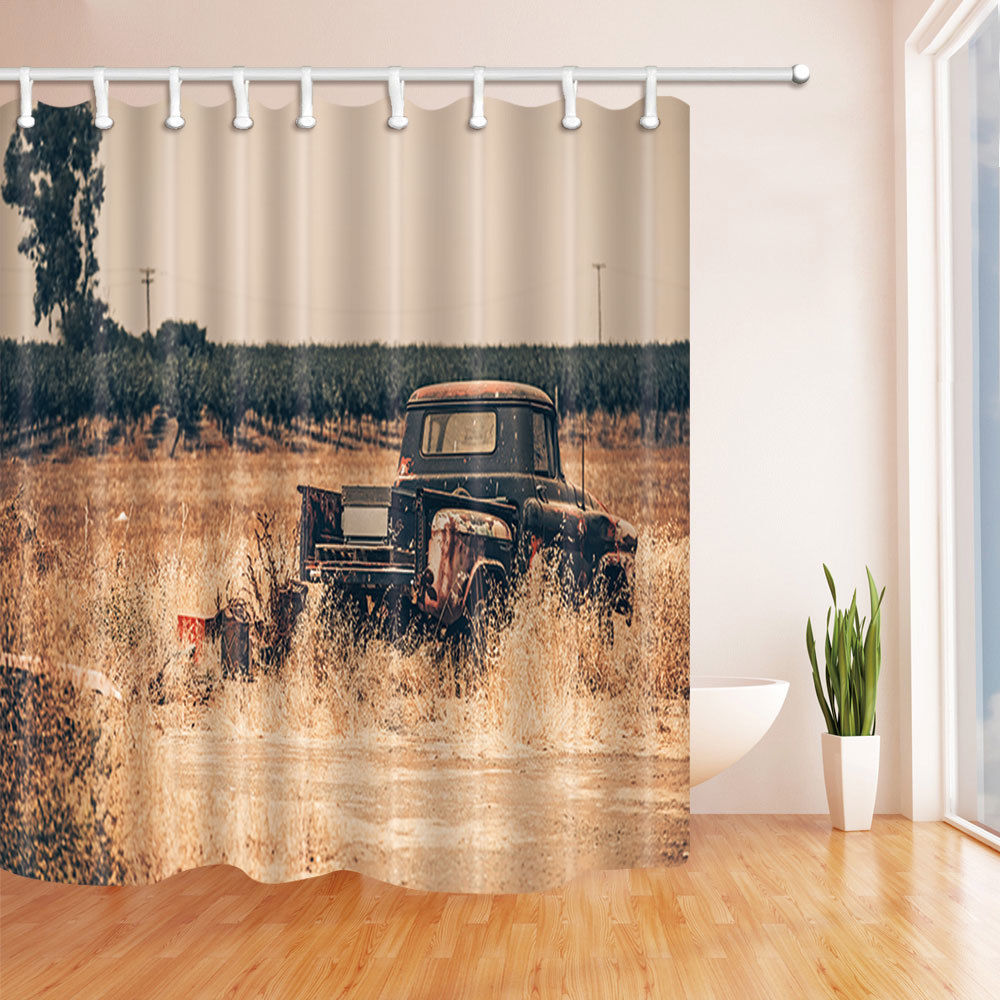 Traditional Curtains Us 16 24 35 Off Aliexpress Buy Traditional Truck In Wild Field Bathroom Shower Curtain Polyester Fabric Waterproof Home Decor Bath Curtains