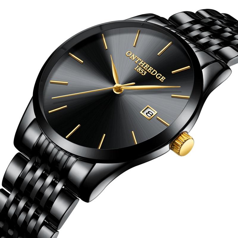OnTheEdge Ultra-thin Men's Watch Waterproof Quartz Man Watch Stainless Relogio Masculino Wristwatch Calendar Watch Male Clock