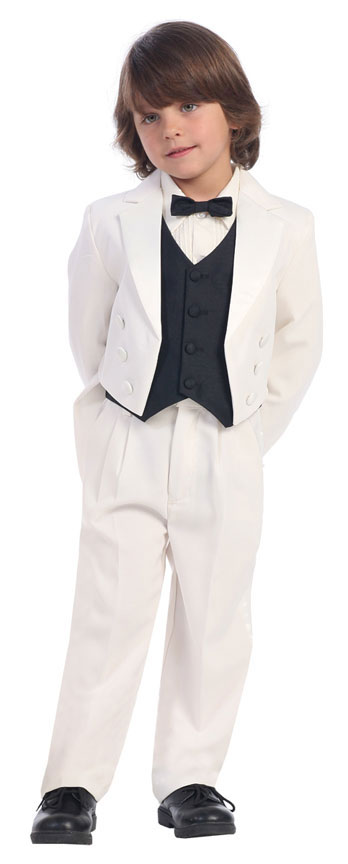 Custom Made Ivory Tailcoat Kids Tuxedos Handsome Primary Scholar Business Suits Boy Prom Suits (Jacket+Pants+Vest+Tie) K:679