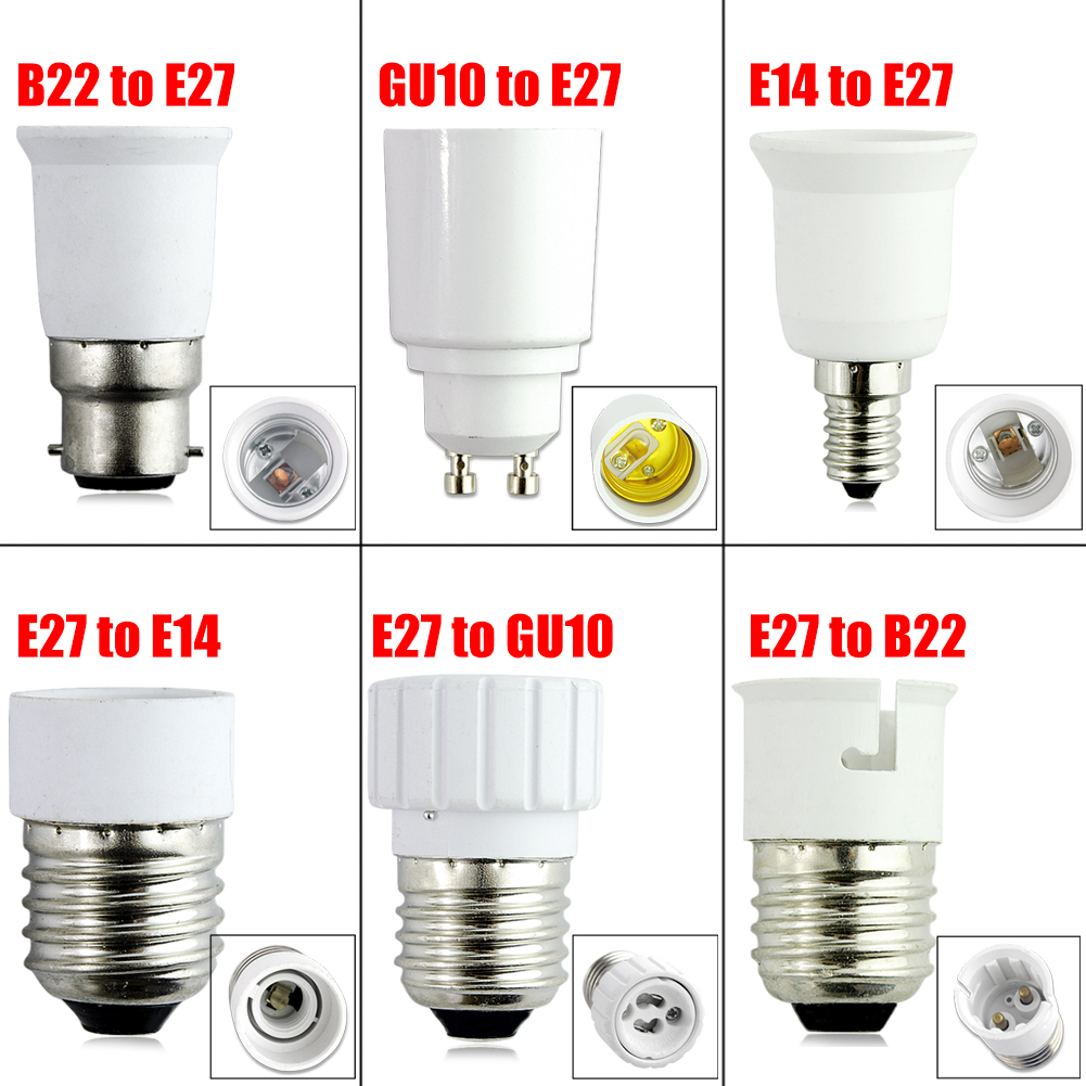 E14 E27 Adapter 6 Styles E14 B22 Gu10 To E27 Socket Base Halogen Cfl Light Bulb Lamp Adapter Converter Holder