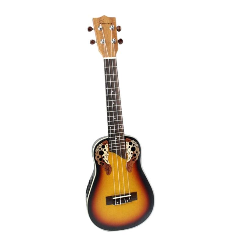 23 дюймов компактный укулеле Гавайский Красный Закат свечение ель палисандр гриф мост концертный струнный инструмент с буи