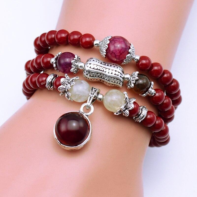 Natürliche Mode 6mm rot Stein Perlen Tibetisch-buddhistischen Gebetskette Halskette Kürbis Gebet mala Armband für Meditation