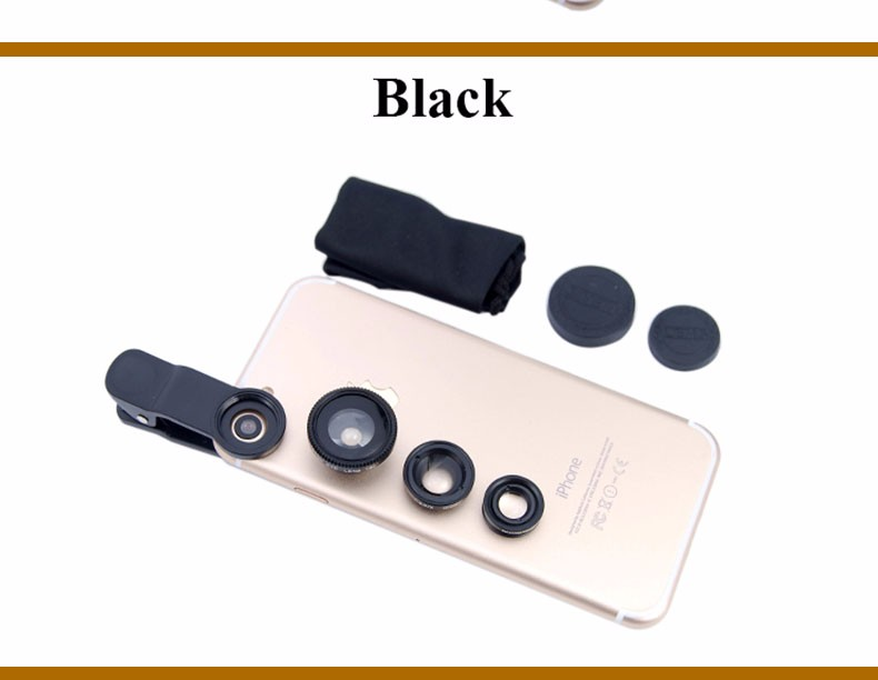 New Fish Eye lens,Wide Angle + Clear Macro Lens For Iphone 5s 6 7 Universal 3 in 1 Phone Camera Len For Sansung Huawei Sony HTC 21