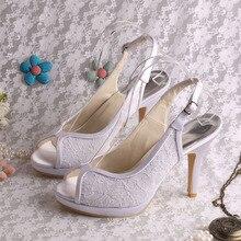 Пользовательские Ручной Новый Стиль Свадебные Сандалии Пятки Peep Toe Slingback Туфли На Каблуках Кружева