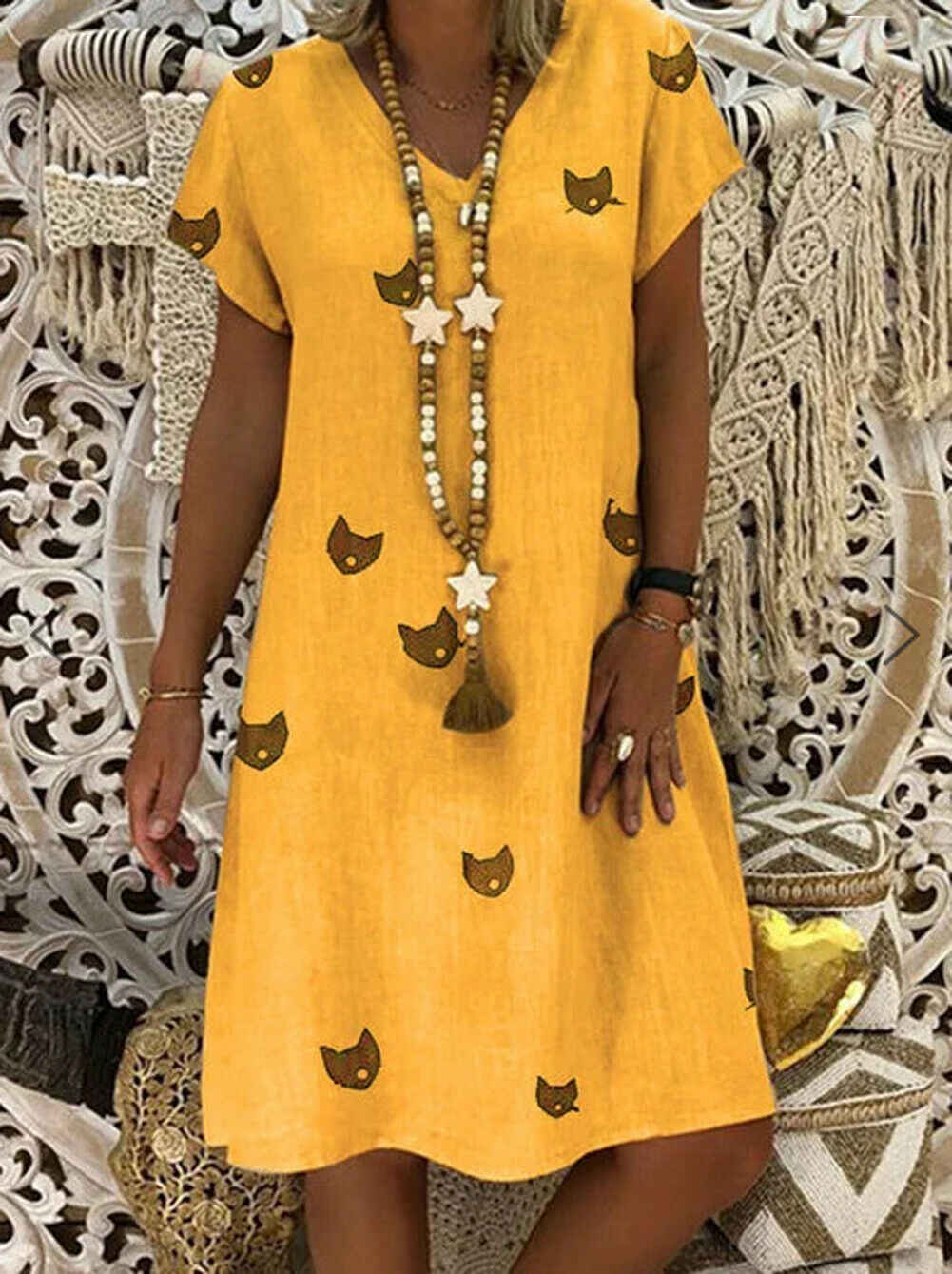 Women Cat Print Short Sleeve Dress Ladies V Neck Short Summer 2019 Boho Beach Dress Causal Loose Dresses Plus Size 3XL New