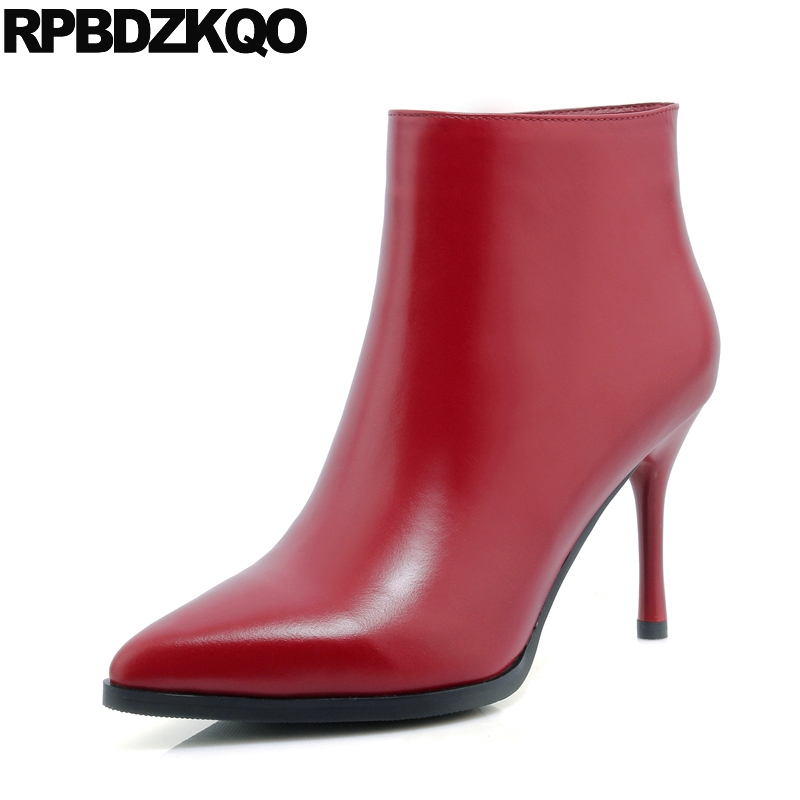 Boots Pointed Toe Designer Shoes Women Luxury 2017 Autumn Short Red Thin Brand Fall Stiletto High Heel Sexy Booties Genuine women s genuine leather low heel comfortable autumn ankle boots brand designer pointed toe elegant short booties shoes women hot