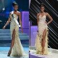 Amor de la sirena Completo Con Cuentas de Lentejuelas Plumas de Alta Dividir Miss Angola Leila Lopes Gana Miss Universo Celebrity Vestidos