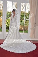 Winter White Ivory Wedding Cloak Cape Hooded With Lace Appliques Satin Beaded Long Train Halloween Bridal