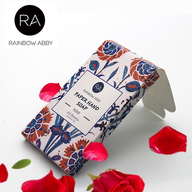 rose Hand Washing Cleaning Scented Slice Sheets 25pcs Disposable Boxed Soap Paper Travel Portable Outdoor Mini Paper Soap Random
