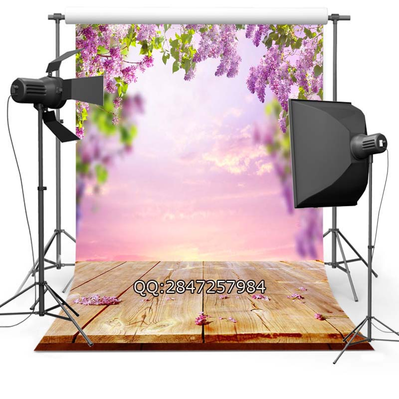 Vinyl Photography Background Flowers Valentine's Day Wood floor Computer printed Wedding Backdrops for Photo Studio  F-2358 10x10ft vinyl backdrops for photography valentine day photography background qr217