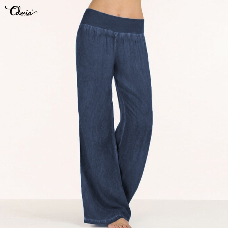2018 Celmia Women High Waist   Pants   Plus Size Long Trouser Female Casual Pleated Denim Blue   Wide     Leg     Pant   Pantalon Palazzo Mujer