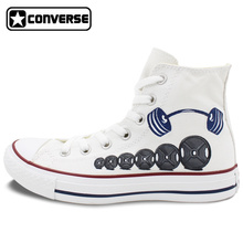 Men Women Converse All Star Boys Girls Shoes Custom Barbell Weight Lifting Original Design Hand Painted Shoes Man Woman Sneakers