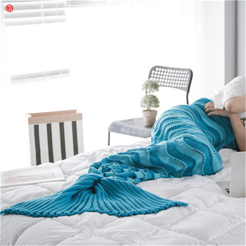 Home textile 95*195cm knitted Mermaid Tail blanket soft sleeping crochet portable blanket gift for Girl Adults Throw Bed Wrap 40 90 high quality thicken fashion handmade knitted mermaid tail blanket keep warm crochet children throw bed wrap sleeping bag