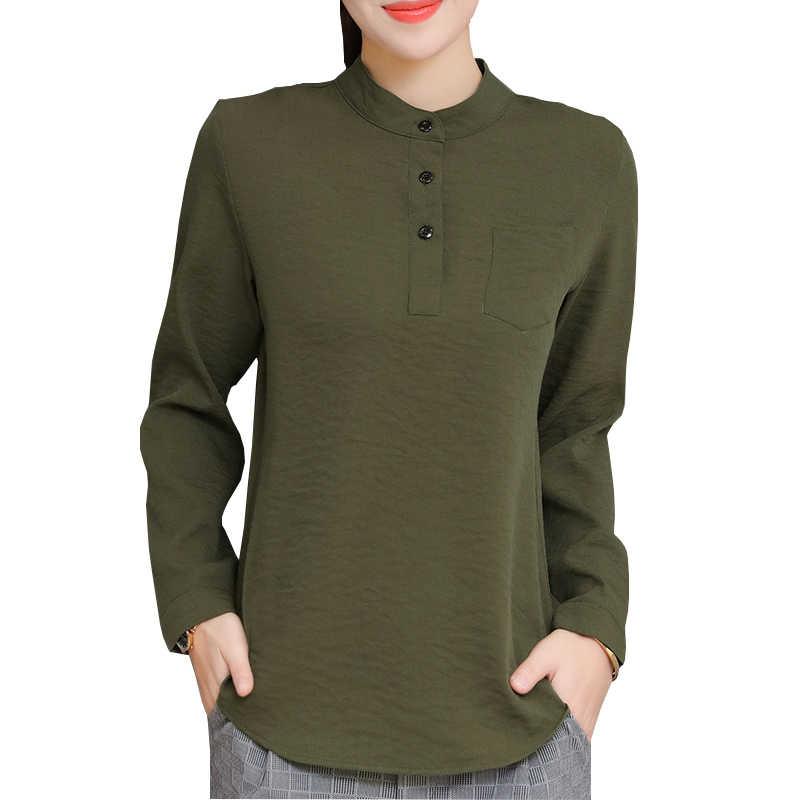 Przycisk wystrój pani na co dzień różowy bluzki Plus rozmiar S-4XL z długim rękawem moda zieleń wojskowa jednolity kolor kobiet OL koszule