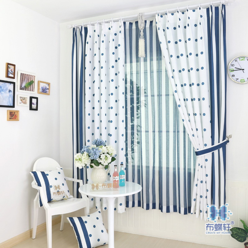 100% Ployester Mediterranean Style Drape Curtain 75% Light Blocking Sky Blue Stripe Curtains for Living Room