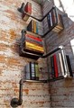 American retro creative process water pipe wall shelf bookcase Cafe Bar den living room bedroom bookshelf