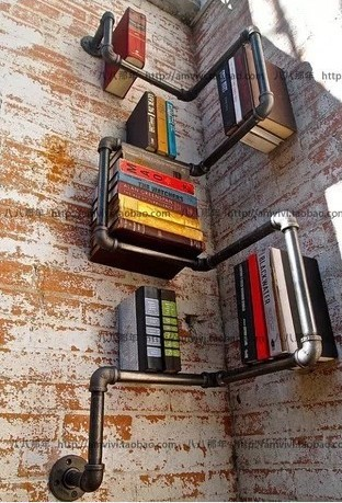 American retro creative process water pipe wall shelf bookcase Cafe Bar den living room bedroom bookshelf