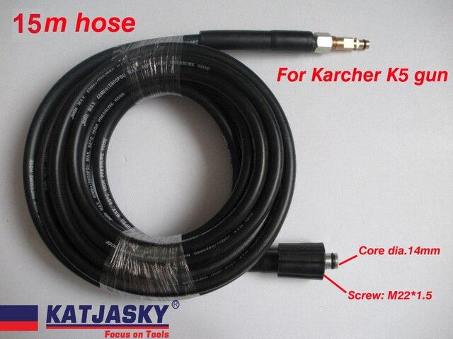 15M Car washer hose fit Karcher K5 connector 400Bar 5800PSI, M22*1.5 *14mm ,high pressure washer hose