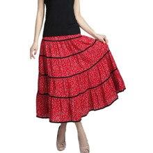 2017 d'été jupe occasionnelle femmes élégant imprimer maxi d'été vintage saia longa jupe femme jupe longue robe dames femme vêtements
