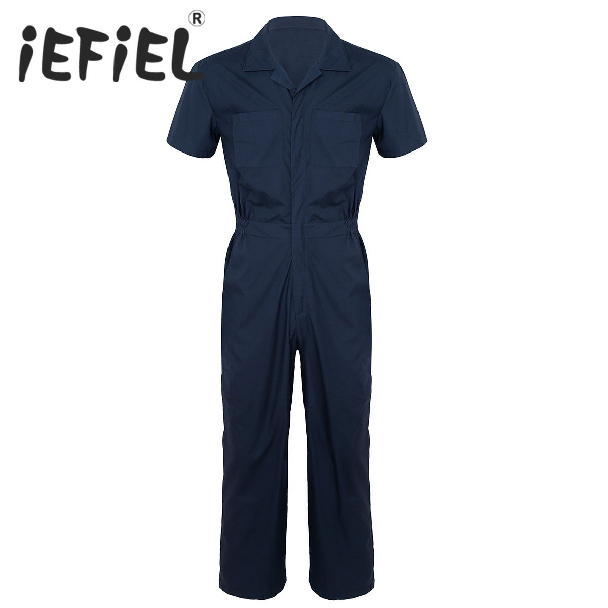 Male Daily Work Coverall Mens One Piece Turn Down Collar Short Sleeves Zipper Front Loose Jumpsuit Rompers Suits with Pockets