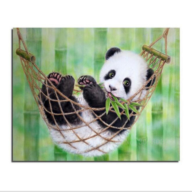 lucu panda bayi ayunan diy 5d berlian lukisan cross stitch persegi mosaik berlian bordir pola. Black Bedroom Furniture Sets. Home Design Ideas