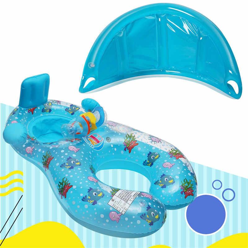 Детская плавающая круг сиденье надувной матрас печатка с мать тент понтон надувной коврик для бассейна игрушечный остров кровать лодка для детей