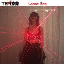2016 Мода Красный Лазерный Световой Sexy Lady Бюстгальтер Лазерное Шоу Сценические Костюмы Певица Танцор Ночной Клуб Исполнители