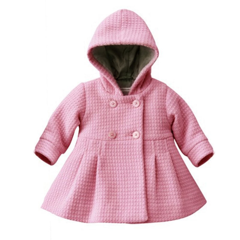 ca8ac0e35f0d New Baby Girl Toddler Warm Fleece Winter Pea Coat Snow Jacket Suit Clothes  Red Pink