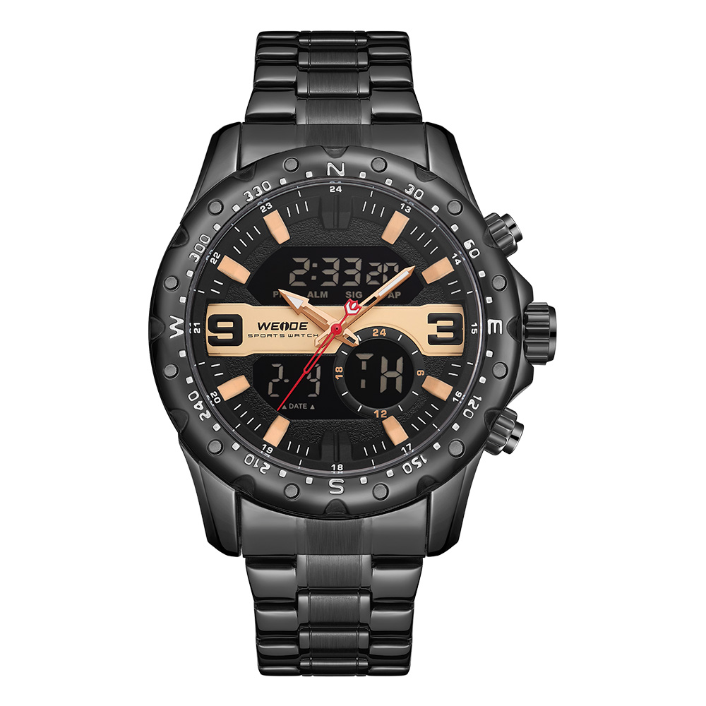 WEIDE Top Luxury Brand Quartz Watches Men LED Digital Clock Man Sports Military Stainless Steel Wrist Watch Relogio masculino 3