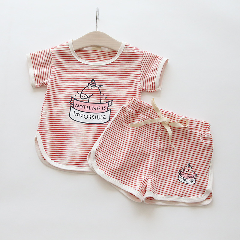 Children Clothing 2018 Summer New Childrens Girls Sports Suit Two Pieces Of Cotton Short Sleeved Pants Suit for Baby Clothes