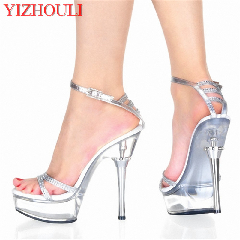 In the summer of 2018, the new women's fashion shoes, sexy high-heeled shoes and sandals, wear 15 cm high heels in summer the new high heels and silver sequined women s shoes match the 15 centimeter high heels and sandals
