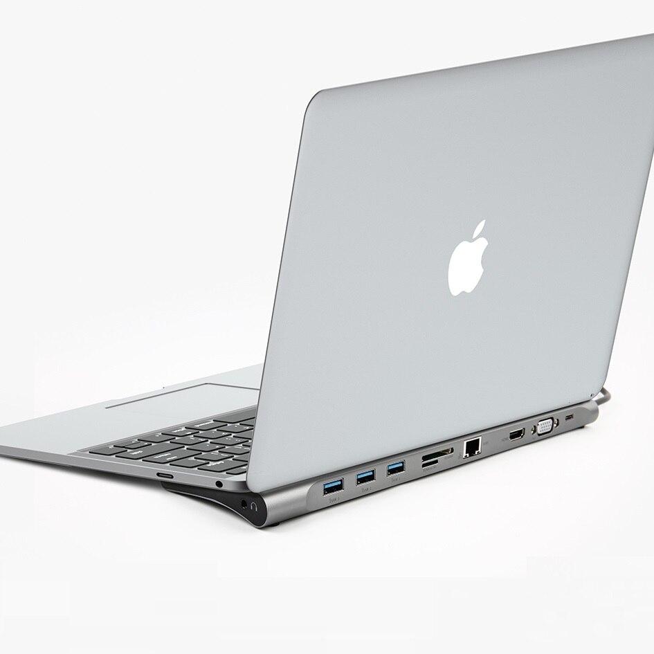 Tout-en-1 USB C Adaptateur Type C vers HDMI VGA Convertisseur USB HUB avec SD/TF lecteur de carte PD De Charge RJ45 Adaptateur pour MacBook